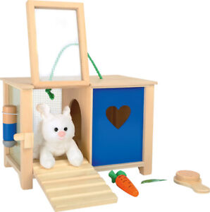 Wooden Toy Rabbit Hutch with Cuddly Rabbit and Accessories