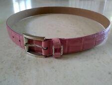 Fossil Vintage Women's Crocodile Embossed Pink Genuine Leather Belt Size Large