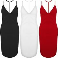 New Harness Plunge V Neck Strappy Midi Bodycon Fitted Stretch Party Dress