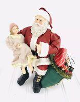 "Clothique Possible Dreams Santa Christmas Collectable Girl Sitting On Santa 8"""