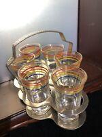 1950's Vintage Set of 6 Shot Glasses in Caddy Holder striped clear