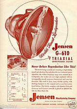 1950 Print Ad of Jensen G-610 Triaxial Loudspeaker System