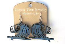 Ocean Wave Blue Laser Cut Wood Green Tree Jewelry Made USA Earrings