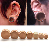 Fashion Ear Gauges-Ear Flesh Tunnels Plugs Solid Natural wood Piercing ScBICA