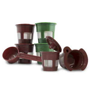 K2V-Cup Adapter + 5 Refillable Reusable K Cup Pods + Coffee Scoop for Keurig VUE