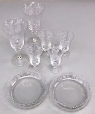 Lot 8 Pcs Tiffin Fuchsia Etched Crystal Water Goblets, Juice Glasses, Nut Bowls