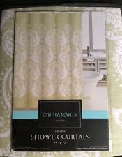 "Cynthia Rowley Fabric Shower Curtain ""Pagoda"" Light Green Ivory Asian Print Nip"