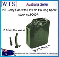 20L Jerry Can Green Steel Gasoline Gas Fuel Tank w Pouring Spout,0.8mm thickness