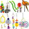 UK_ Parrot Pet Bird Chew Cages Hang Bell Mirror Wood Ladder Bells Chew Toys Surp