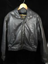 Vintage Men's Reed Sportswear Black Leather Zip Up Jacket Size 42 Liner Included