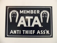 Vintage Sign ATA Cattle Horse Ranch Anti Theft Member Marshall Law Justice