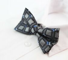 MENS CHESS BLACK SILVER BLUE BOW TIE Pretied Wedding Formal Patterned CHEAP new