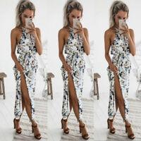 Boho Womens Summer Halter Neck Sleeveless Floral Maxi Dress Beach Party Sundress