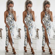 UK Boho Women Holiday Off Shoulder Floral Maxi Sundress Summer Beach Party Dress
