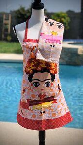 Frida Kahlo Two pocket apron W/ Dish Rag (Orange)