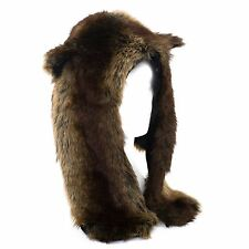Faux Fur WoUnisex Animal Hat with attached Scarf and Gloves