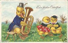 Ostern, Ente spielt Posaune, die Kücken tanzen, Glückwunschkarte von 1940