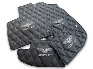 BLACK LEATHER FLOOR MATS FOR BENTLEY Continental GT 2004-2017 HAND MADE SET