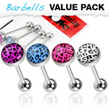 4 Colors Leopard Print Logo Surgical Steel Barbells Tongue Rings Pack