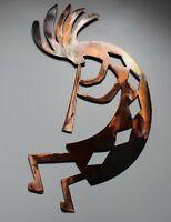 "Copper/Bronze Plated Arizona Kokopelli Metal Wall Art Style 4   40"" tall"""