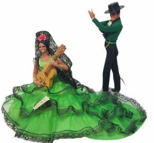 Vtg Marin Chiclana Spanish Dolls Flamenco Dancers Couple Set 2 Guitar 10x15 tags