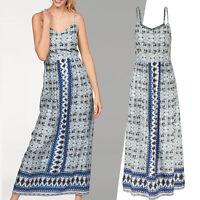 Gr.38/40 M/L MAXIKLEID Maxi Kleid Blumen Ranken BOHO GOA DRESS blau Sommerkleid