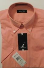 NWT Nautica, Coral, Short Sleeve Dress Shirt, Small (14 1/2), 100% Cotton (190)