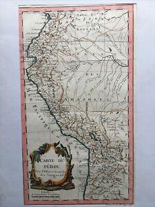 1757, Pérou Antic Map Carte Couleurs Hand Colored Benard