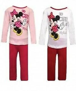 GIRLS MINNIE MOUSE CHARACTER PYJAMAS SET - 2 COLOR, PINK & WHIT TO 6 YEARS