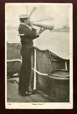 Navy British  BOAT Ahoy sailor with megaphone 1907 PPC