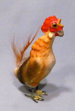 Vintage Miniature Painted Composition Rooster with Metal Feet & Glass Eyes
