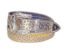 Womens Western Rhinestone Crystal Bling Gold Leather Stud Snap On Buckle Belt L