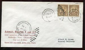 4-22-1945 Nashville TN First Flight Cover CAM #20W57 A84