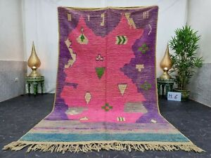 "Moroccan Boujaad Handmade Rug 5'4""x8'8"" Berber Patchwork Purple Pink Wool  Rug"