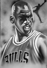 Michael Jordan On Canvas 24 X 36 Jumpman Chicago Bulls 6 Rings