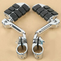 """Long Angled Highway Foot Pegs Rest 1 1/4"""" 1.25"""" Engine Guard Bar Fit For Harley"""