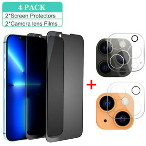 For iPhone 13 Pro Max 13 12 Pro Anti-Spy Privacy Glass Camera Screen Protector