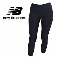 New Balance Women's Black Core Crop Yoga Leggings with Reflective NB Logo XS-L
