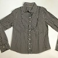 J.Crew Womens Size Small Long Sleeve Plaid Button Down Top Shirt Black  White