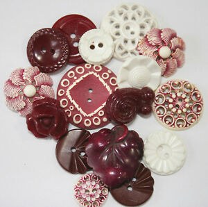 Vintage Buffed Celluloid Plastic Realistic, Pierced Maroon Buttons