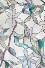 New 24x36 Jasmine Stained Glass Privacy Static Cling Window Film White Decor