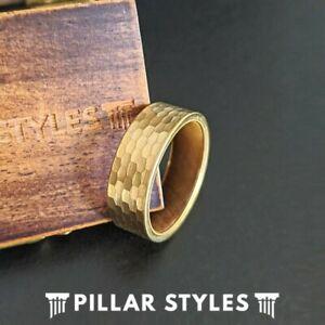 Hammered 14K Gold Ring Mens Wedding Band Exotic Koa Wood Ring Tungsten Mens Ring