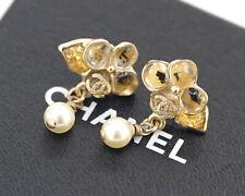 CHANEL Gripoix Camellia Dangle Earrings CC Logos w/BOX v667