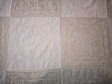 """Beautiful antique lace and embroidery panels rectangular tablecloth, 66"""" by 93"""""""