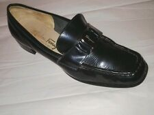 Womens FERRAGAMO Dark Blue Patent  Shoes Sz 7 B  Silvertone Buckle Loafers Italy