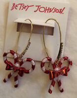 Betsey Johnson Festive Double Peppermint Striped Candy Cane Drop Earrings NWT