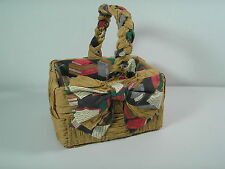 1990s Handmade Folk Art Woven Corn Husk Gift Basket 4x6 Fabric Lined Book Print