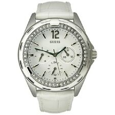New AUTHENTIC  Guess White Leather STRAP Crystal Watch U10563L1 New with TAG.