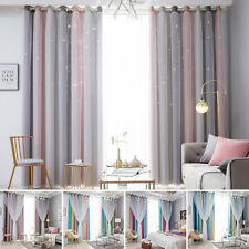 Curtain Blackout Star Curtains Bedroom Living Room Double Layer Window Curtain