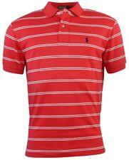 Polo Ralph Lauren Men's Classic Fit Striped Interlock Polo Shirt-Red/White-Small